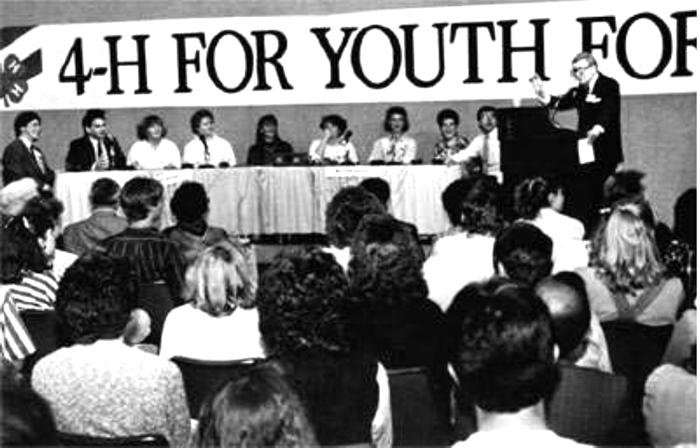 "Mac McGarry, host of the popular high school quiz show ""It's Academic"" hosted the first National 4-H Conference Clover Bowl. Participants answered questions about the history of the Constitution, 4-H, and of Washington, D.C. (Spring, 1987, National 4-H Council Quarterly)"