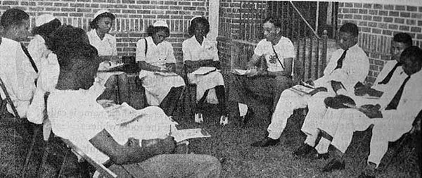 elegates discuss nutrition and rural health at the first Regional 4-H Camp in 1948.