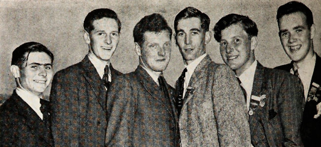 Here are the British visitors.  From left, 21-year-old Hywel Evans; Stanley  A. B. Gray, 20; William Edge, 21; group leader John L. Cornah, 23; Kenneth J. Osborne, 21 and Alexander Campbell, 20.