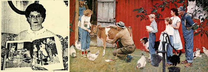 4-H alum Jama (Steed) Fuller shows the Rockwell original painting in which she stars. (She's the one showing the calf). Photo courtesy of March/April 1989 issue Country Woman