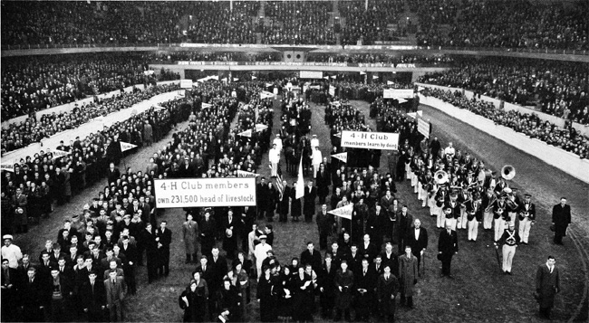 1935 Parade of National 4-H Congress Delegates at the National Livestock Exposition. This was its eleventh year.